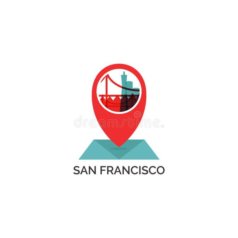 Illustrazione di logo di vettore della siluetta dell'orizzonte della città di San Francisco illustrazione vettoriale