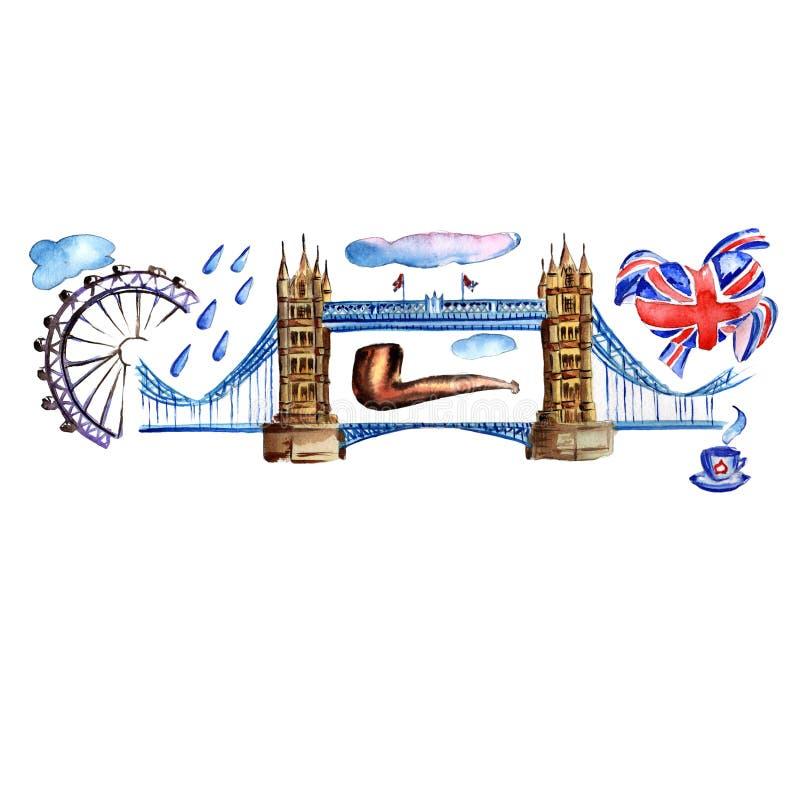 Illustrazione di Londra dell'acquerello Simboli disegnati a mano della Gran Bretagna illustrazione vettoriale
