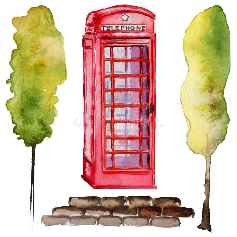 Illustrazione di Londra dell'acquerello Simboli disegnati a mano della Gran Bretagna Telefono britannico illustrazione di stock