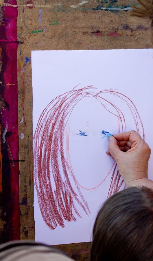 Illustrazione di matita del fronte del `s della ragazza fotografie stock libere da diritti