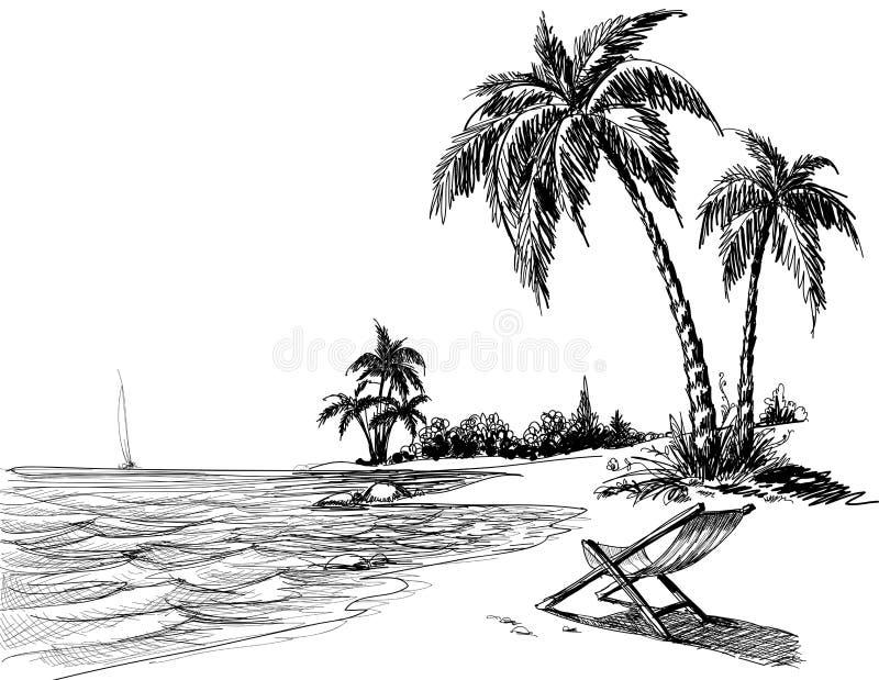 Illustrazione di matita della spiaggia di estate immagini stock libere da diritti
