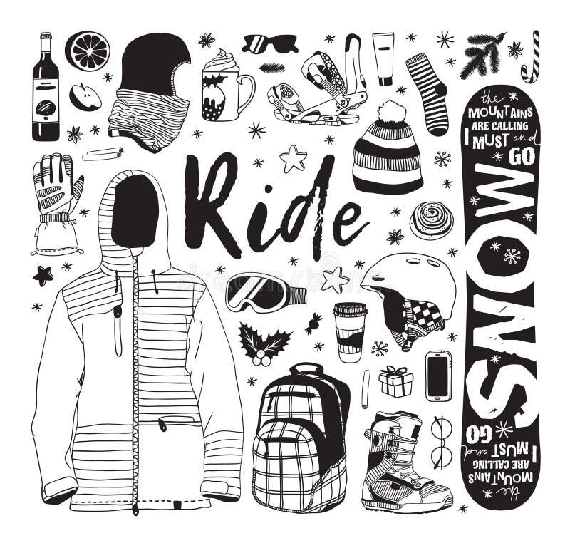 Illustrazione di moda disegnata a mano Lavori d'arte creativa con inchiostro Disegno vettoriale cozy effettivo con elementi Rider royalty illustrazione gratis