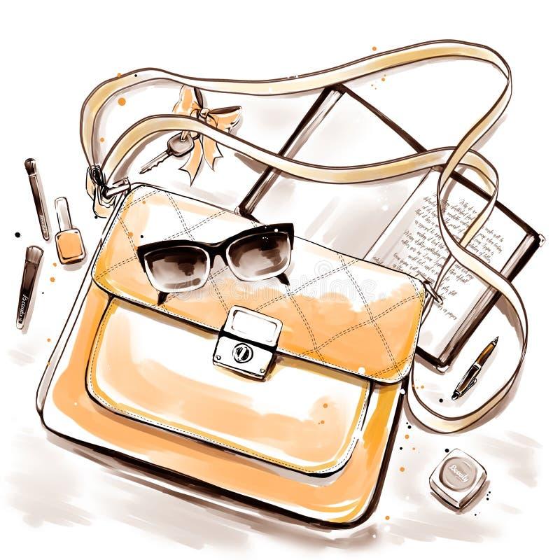 Illustrazione di modo con gli accessori di una donna in borsa illustrazione vettoriale