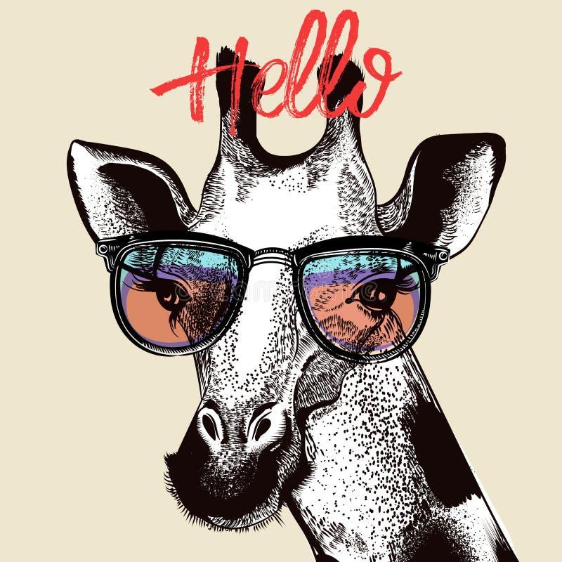 Illustrazione di modo con la giraffa sveglia royalty illustrazione gratis