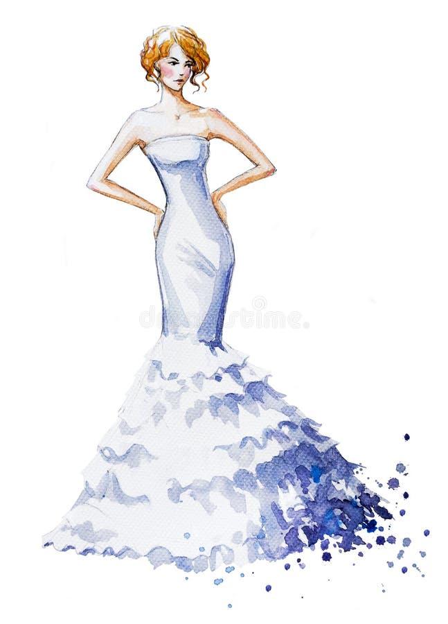 Illustrazione di modo dell'acquerello, bella ragazza in un vestito lungo Vestito da cerimonia nuziale illustrazione vettoriale