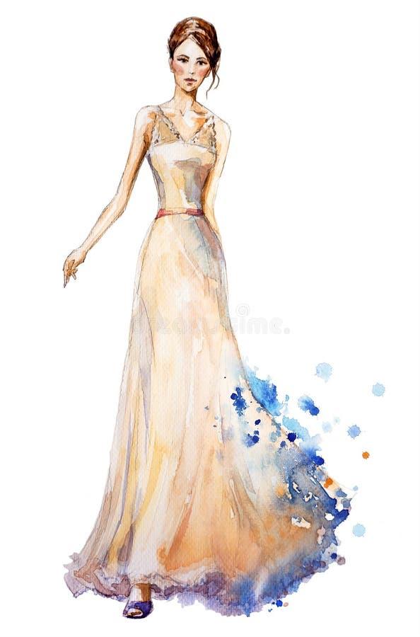 Illustrazione di modo dell'acquerello, bella ragazza in un vestito lungo Vestito da cerimonia nuziale royalty illustrazione gratis