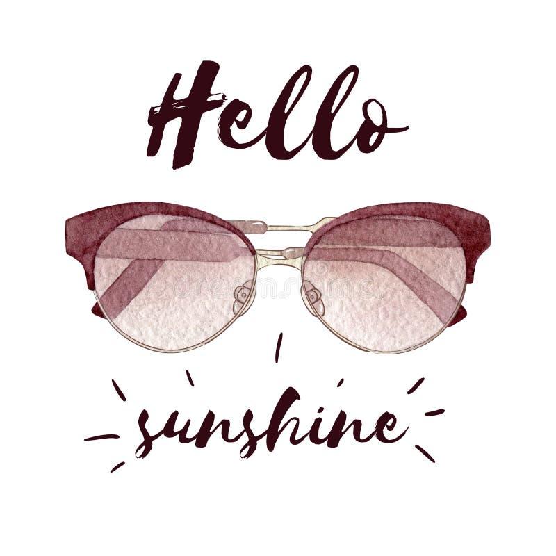 Illustrazione di modo dell'acquerello con gli occhiali da sole isolati su fondo e su iscrizione bianchi illustrazione di stock