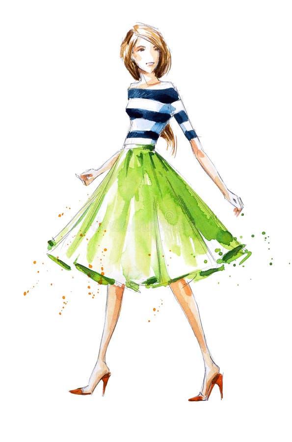 Illustrazione di modo dell'acquerello, dipinta a mano royalty illustrazione gratis