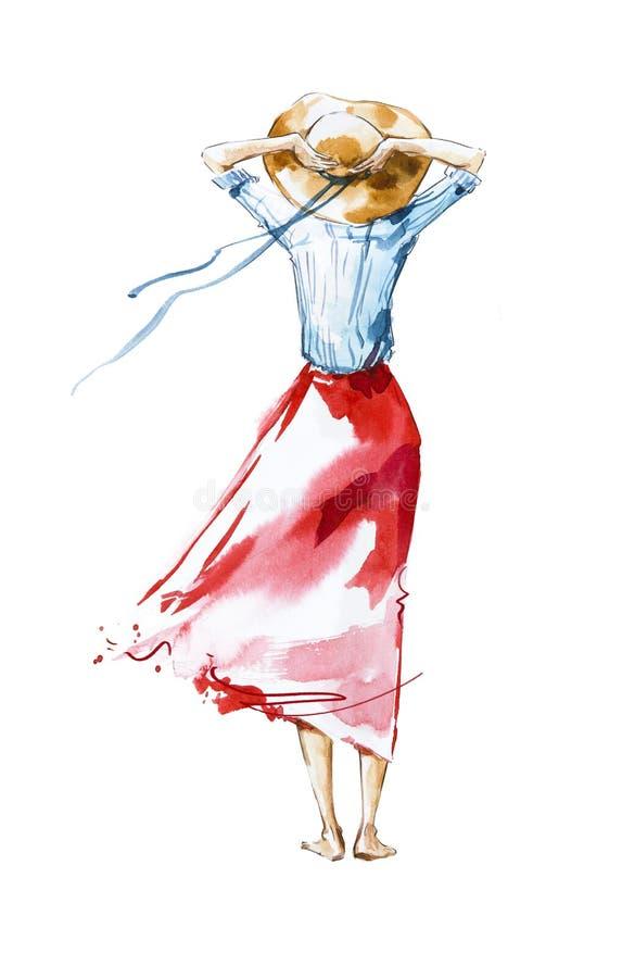 Illustrazione di modo dell'acquerello, ragazza che guarda nella distanza illustrazione vettoriale