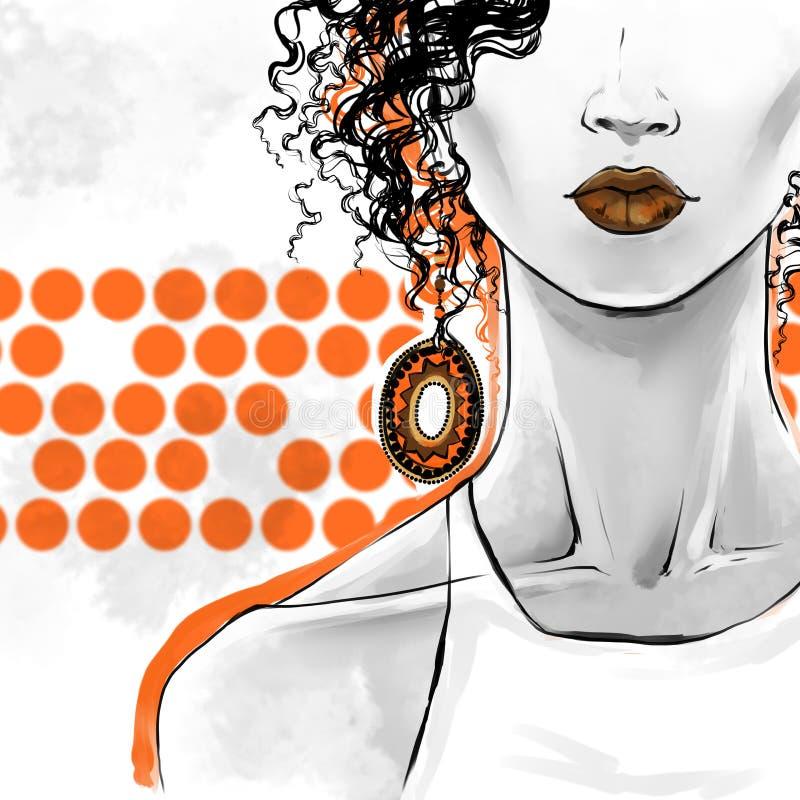 Illustrazione di modo, disegno a mano libera Arte del manifesto per i negozi di bellezza, parrucchieri illustrazione di stock