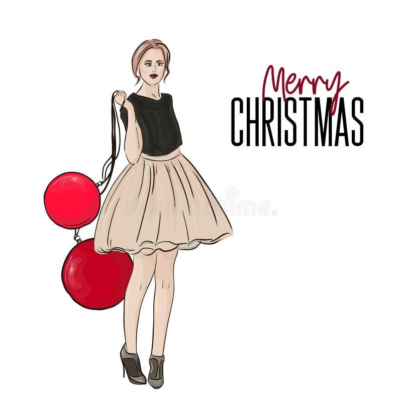 Illustrazione di modo di Natale di festa di vettore Manifesto di stile del nuovo anno con la donna di fascino in vestito e tallon royalty illustrazione gratis