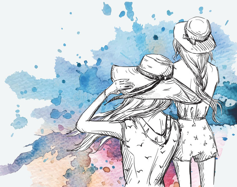 Illustrazione di modo Ragazze in cappelli su un fondo dell'acquerello illustrazione vettoriale