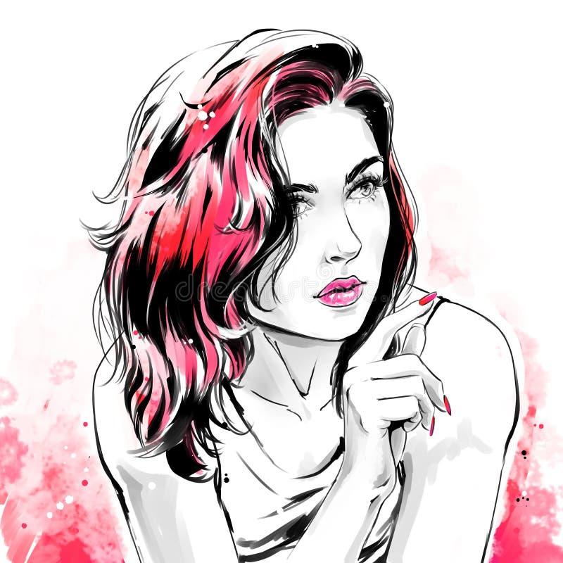 Illustrazione di modo, ritratto di bella donna illustrazione vettoriale
