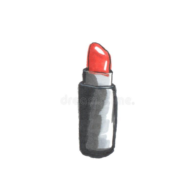 Illustrazione di modo di rossetto rosso illustrazione vettoriale