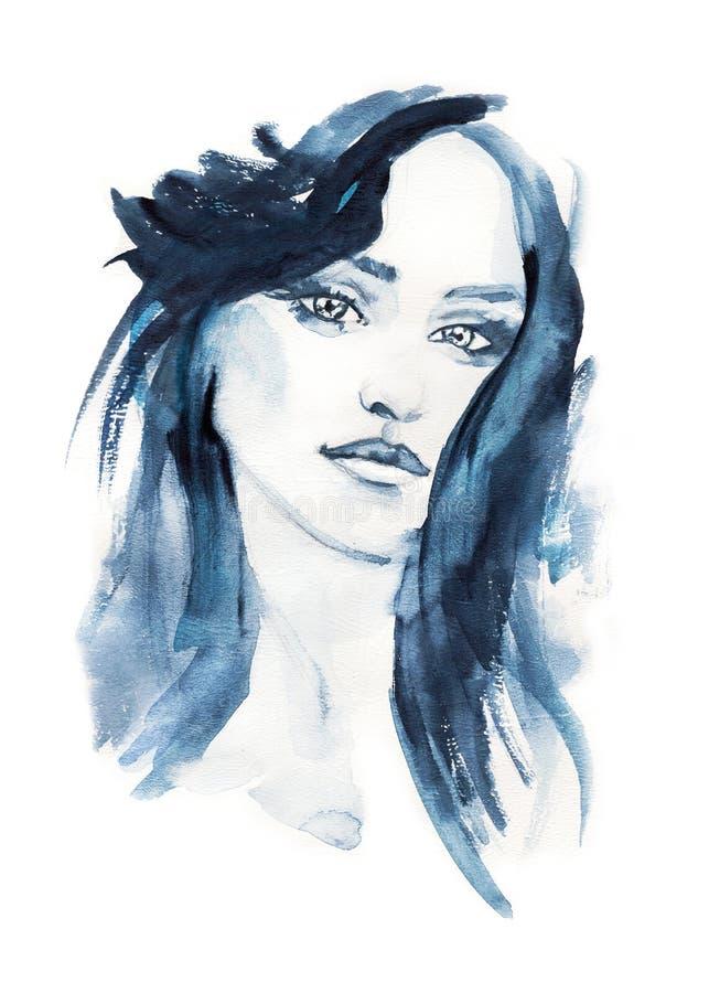 Illustrazione di modo watercolor Fronte della donna Pittura disegnata a mano illustrazione di stock