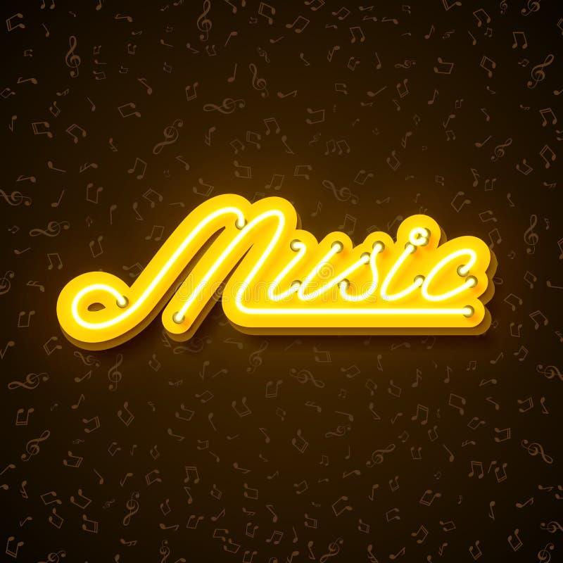 Illustrazione di musica con l'insegna al neon Lettera brillante dell'insegna sul fondo di struttura della nota Modello di progett illustrazione di stock