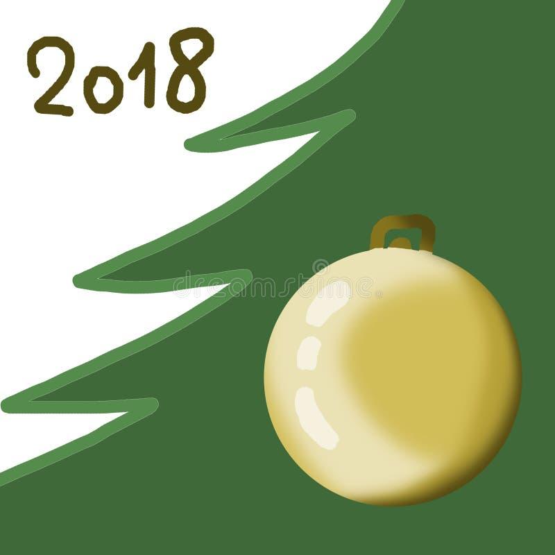 Illustrazione di Natale Albero di Natale, palla del ` s del nuovo anno, 2018 Verde, dorato Una composizione minimalistic semplice immagini stock libere da diritti