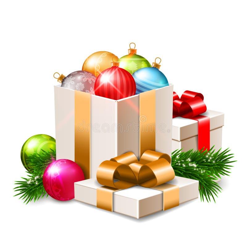 Illustrazione di Natale, belle bagattelle brillanti e contenitori di regalo, rami dell'abete isolati su bianco illustrazione di stock