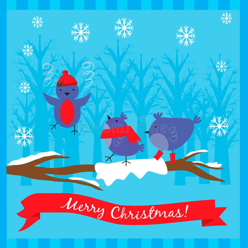 Illustrazione di Natale con gli uccelli svegli sul ramo di albero illustrazione di stock