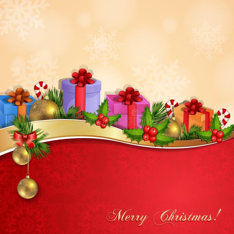 Illustrazione di Natale con i contenitori di regalo. illustrazione di stock