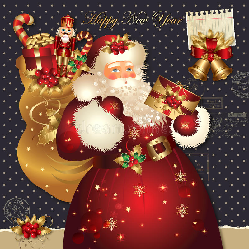 Illustrazione di natale con il Babbo Natale royalty illustrazione gratis