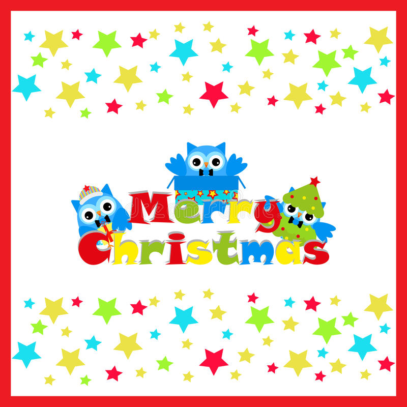 Illustrazione di Natale con il gufo sveglio sul fondo della stella sulla struttura rossa adatta a cartolina d'auguri della cartol royalty illustrazione gratis