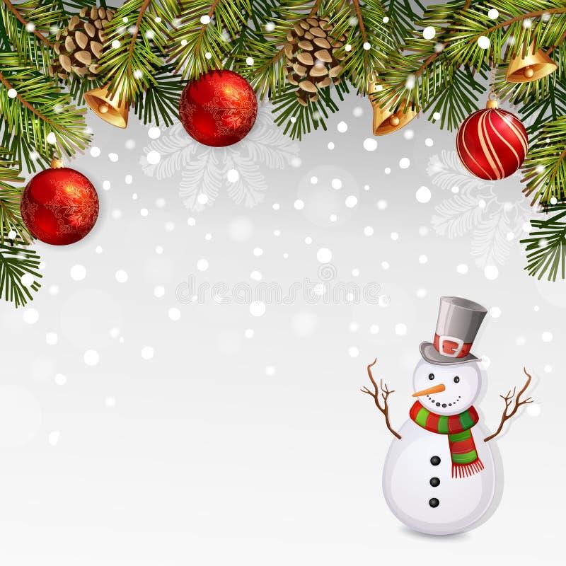 Illustrazione di Natale con il pupazzo di neve royalty illustrazione gratis