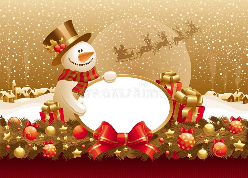 Illustrazione di natale con il pupazzo di neve, il regalo & il blocco per grafici illustrazione vettoriale