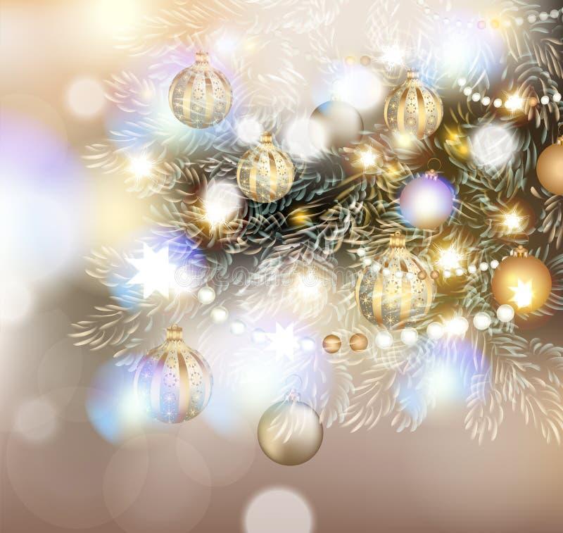Illustrazione di Natale con l'albero di Natale alle luci, dorate e illustrazione di stock