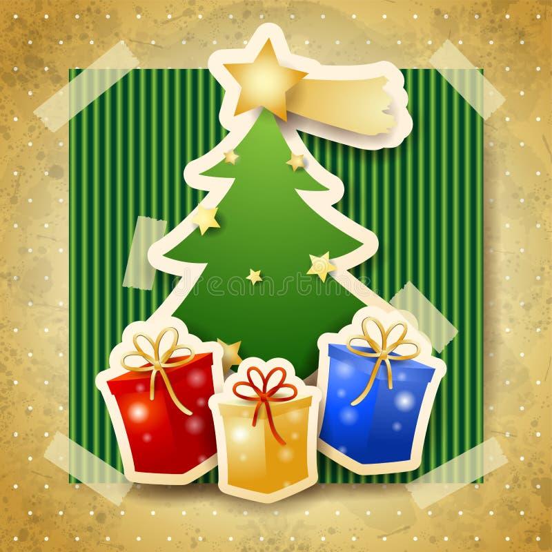 Illustrazione di Natale con l'albero sul fondo del cartone illustrazione di stock