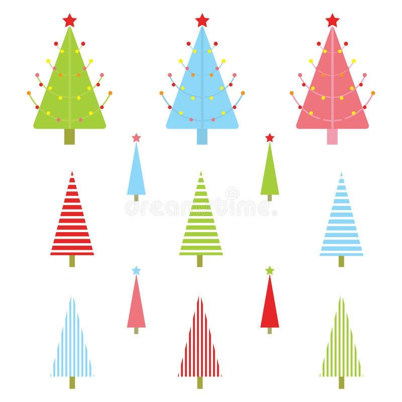 Illustrazione di Natale con l'albero variopinto di natale adatto ad insieme ed a clipart dell'autoadesivo di natale illustrazione vettoriale