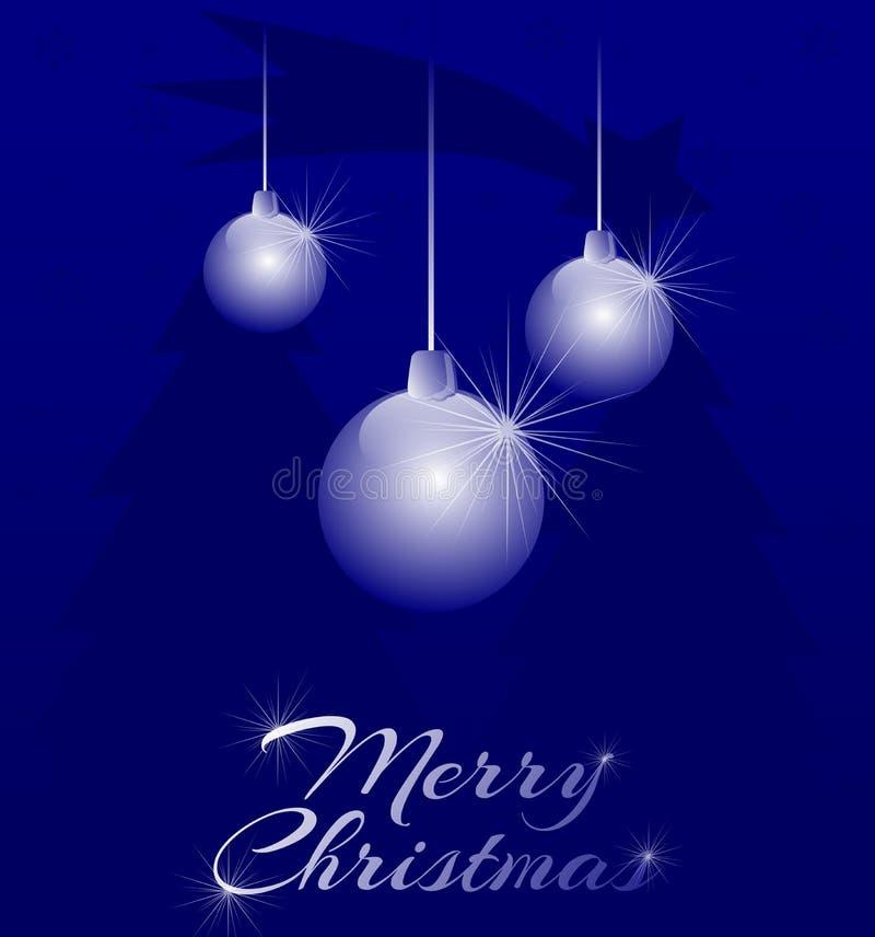 Illustrazione di Natale con le decorazioni, abeti e stella cadente, blu e bianco, Buon Natale, elegante illustrazione di stock