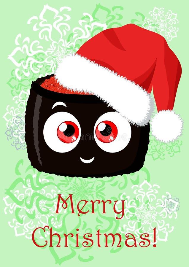 Illustrazione di Natale di saluto con l'immagine del fumetto divertente royalty illustrazione gratis