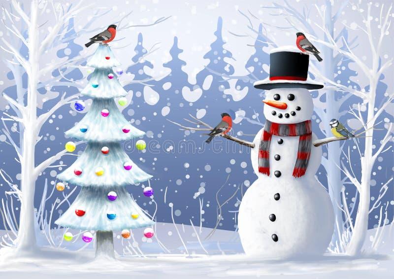 Illustrazione di Natale Pupazzo di neve, albero di Natale, uccello selvaggio, paesaggio di inverno illustrazione di stock