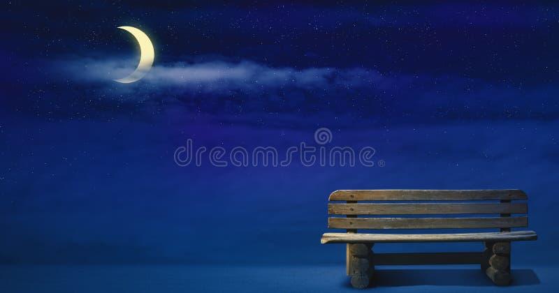 Illustrazione di Nightscape con luce della luna fotografie stock