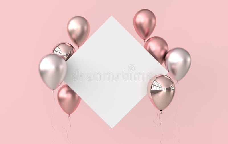 Illustrazione di oro rosa lucido, dei palloni rosa e del Libro Bianco su fondo rosa r illustrazione vettoriale