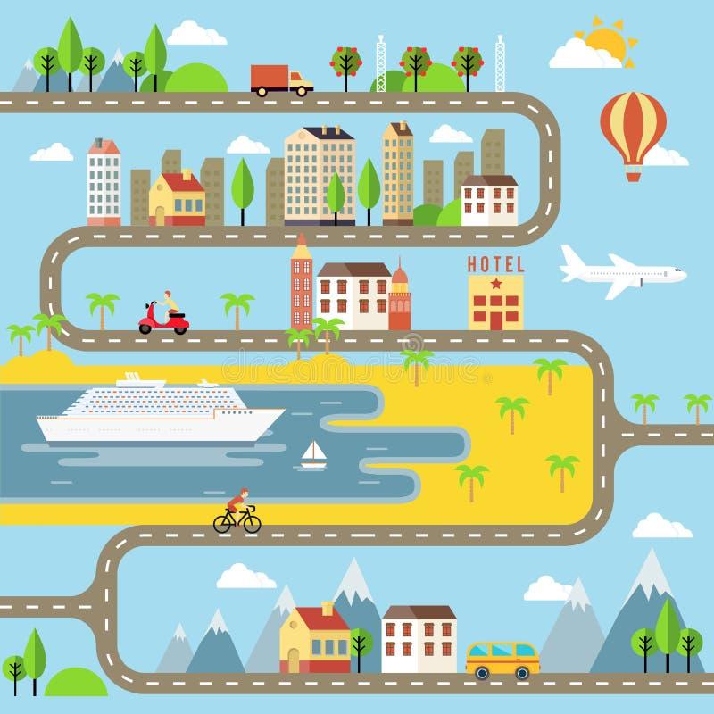 Illustrazione di paesaggio urbano della cittadina di vettore illustrazione vettoriale