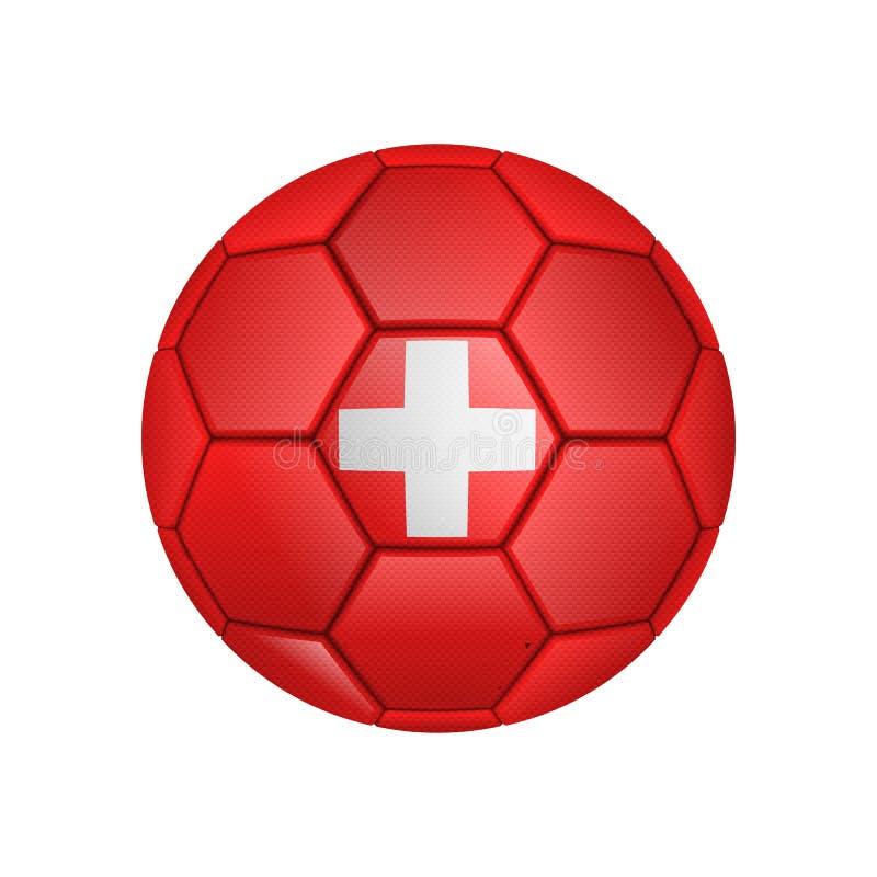 illustrazione di pallone da calcio realistico dipinta nella bandiera nazionale della Svizzera per i apps mobili di web e di conce illustrazione di stock