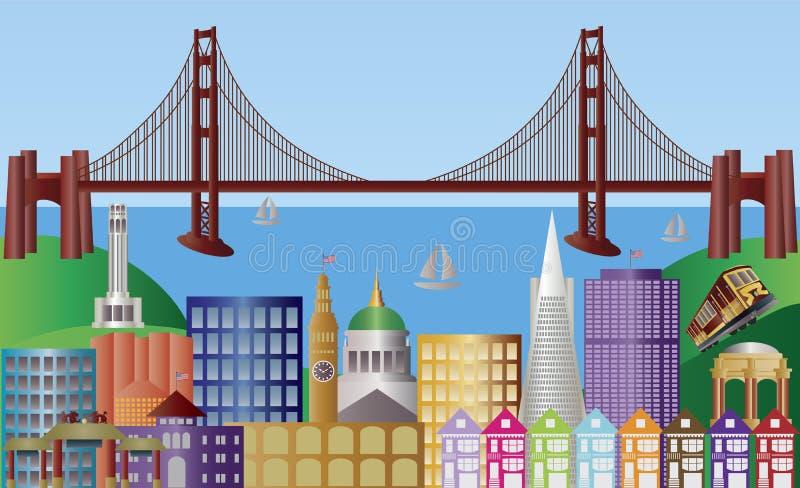 Illustrazione di panorama dell'orizzonte della città di San Francisco illustrazione di stock