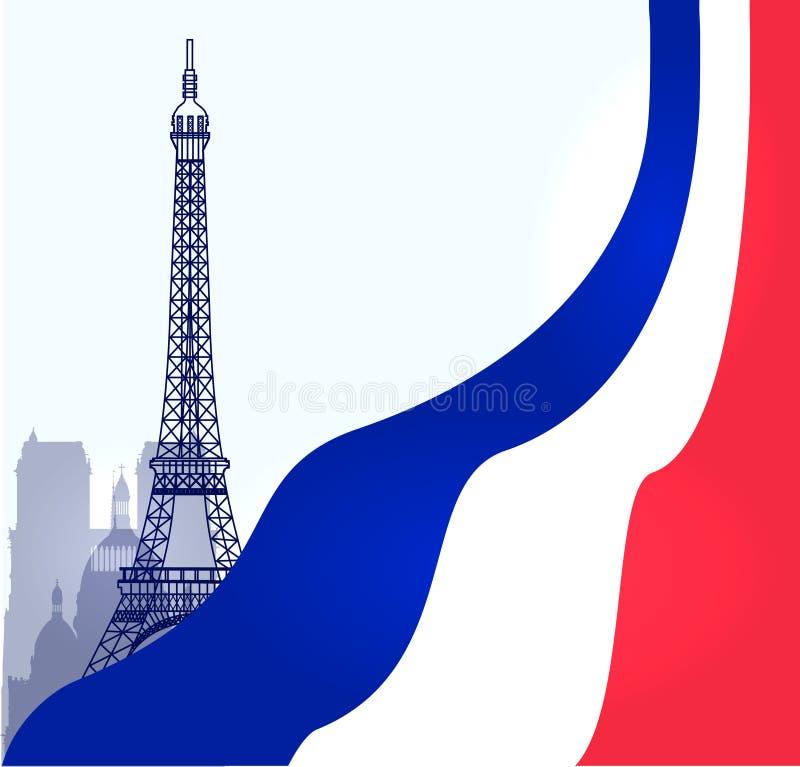 Illustrazione di Parigi di vettore con la bandiera del francese illustrazione vettoriale