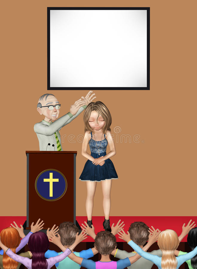 Illustrazione di Pastor Praying Healing Miracle Service illustrazione vettoriale