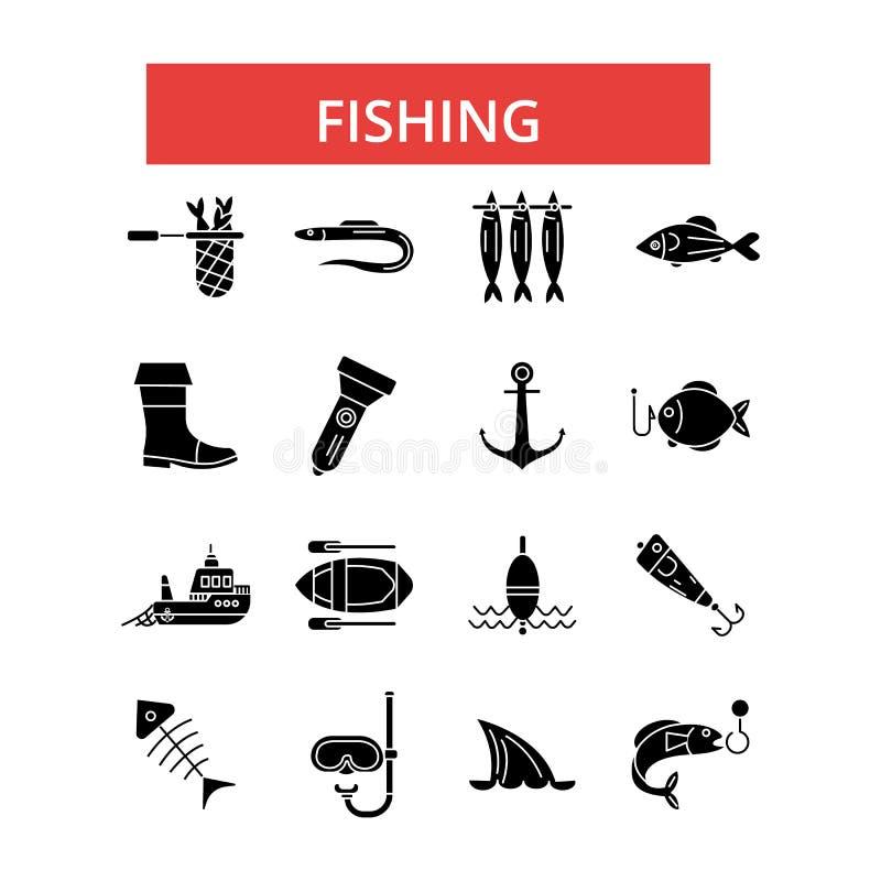 Illustrazione di pesca, linea sottile icone, segni piani lineari, simboli di vettore illustrazione vettoriale