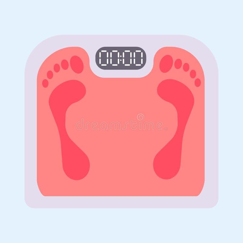 Illustrazione di peso eccessivo di massa stante a dieta di vettore dello strumento del corpo di misura sana dell'equilibrio della illustrazione vettoriale