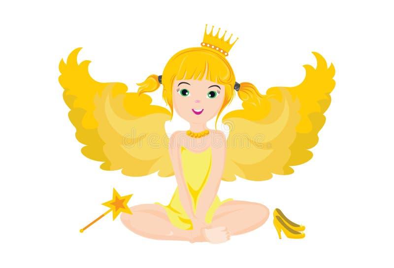 Illustrazione di piccolo fatato di seduta sveglio con le ali gialle illustrazione vettoriale