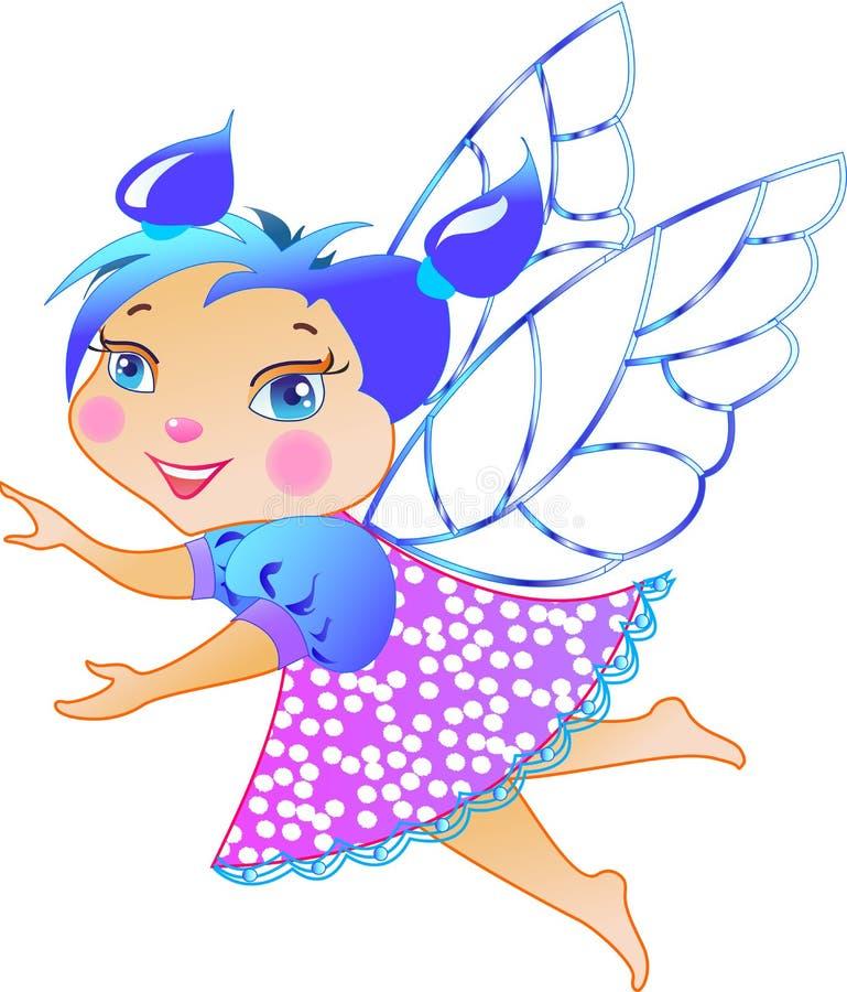 Illustrazione di piccolo fatato sveglio del bambino in mosca illustrazione di stock