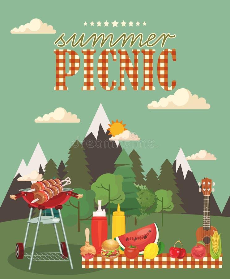 Illustrazione di picnic della famiglia di vettore Icone di passatempo e dell'alimento illustrazione vettoriale
