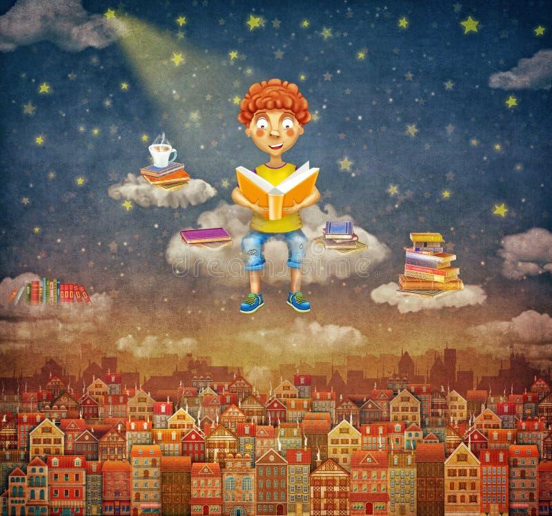 Illustrazione di poco giovane ragazzo dello zenzero che legge un libro sulla nuvola illustrazione vettoriale