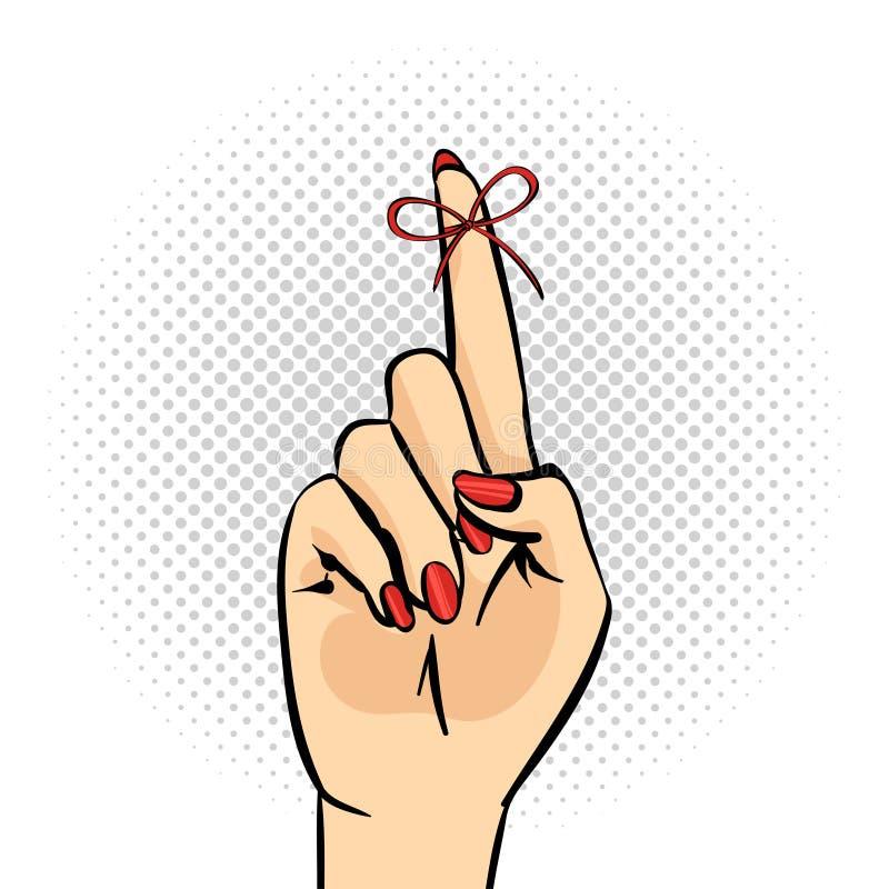 Illustrazione di Pop art della mano con la corda di ricordo sul dito illustrazione di stock