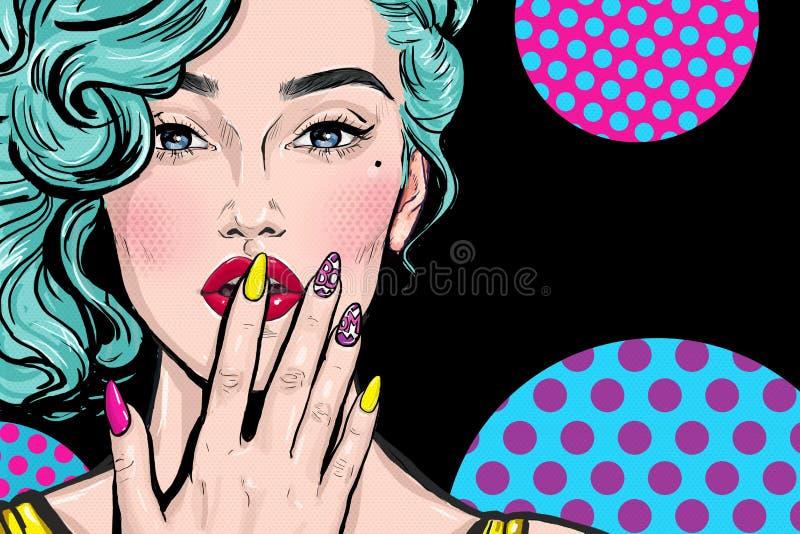 Illustrazione di Pop art della ragazza con la mano Ragazza di Pop art Donna comica Ragazza sexy Chiodi Rossetto illustrazione vettoriale