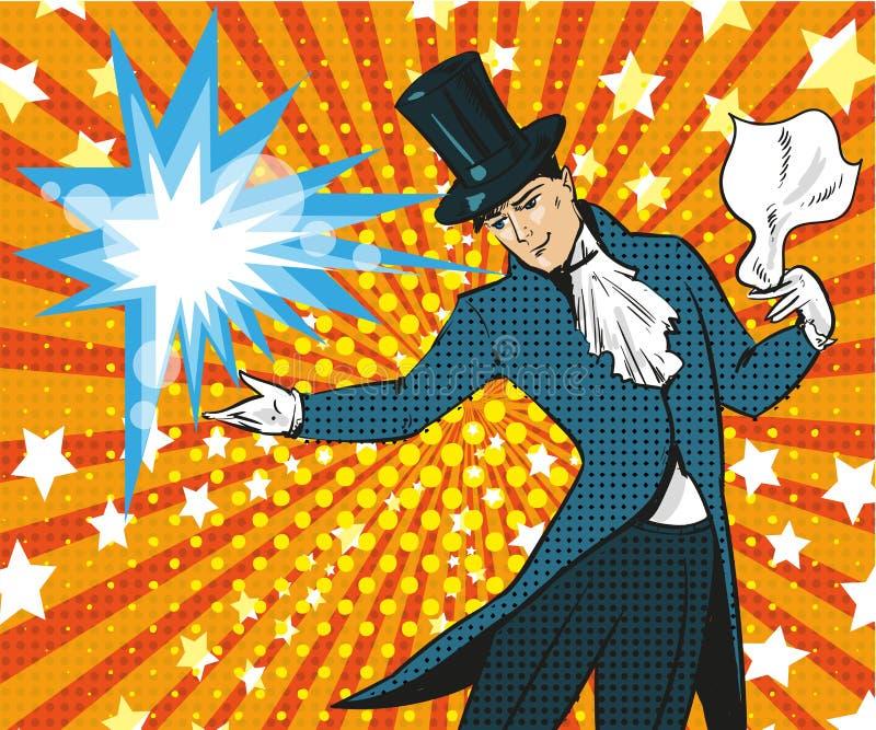 Illustrazione di Pop art di vettore del mago che esegue trucco illustrazione di stock